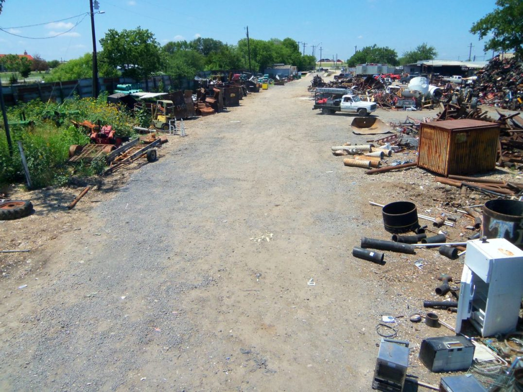 Recycling center with scrap metal in Austin